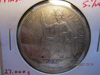 Circulated 1924 .900 Silver French Indo China 1 Piastre 27 grams .7812 oz ASW