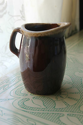 Hull Brown Drip Creamer / Pitcher Stoneware Vintage Hull Oven Proof Creamer