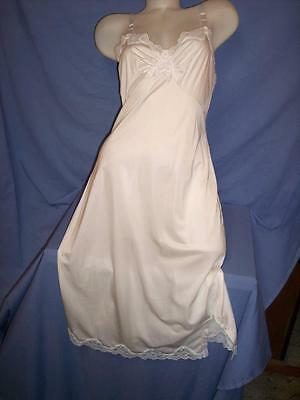 """SHADOWLINE"" VINTAGE WHITE/LACE ALL NYLON  FULL SLIP -LINGERIE - sz 38MS"