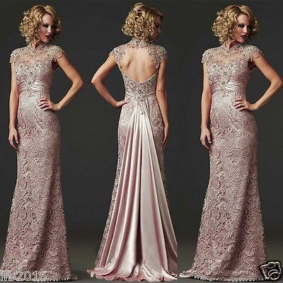 Long Lace Evening Dress Cocktail Formal Party Ball Bridesmaid Wedding Prom Gowns