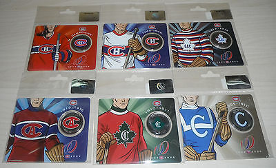MONTREAL CANADIENS CENTENNNIAL 1909 2009 50 CENTS COINS ***No 1-2-3-4-5-6 set***