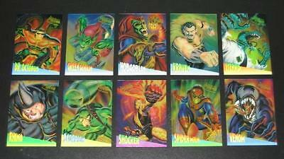1995 Fleer Ultra Spider-Man CLEARCHROME Insert Set of 10 Cards NMM, Marvel