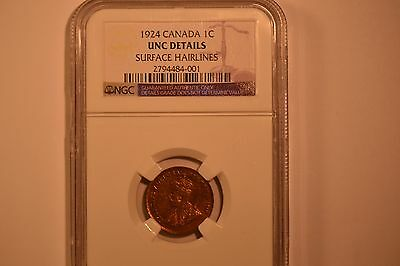 Canada: 1924 Small Cent- NGC UNC Details.  Surface Hairlines.