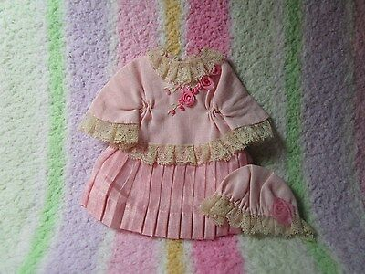 Small dress & bonnet for small bisque doll~GORGEOUS~ Never used~PINK!