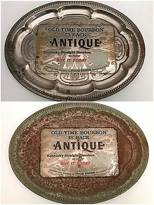 Two Antique Four Roses Distillers Antique Bourbon Advertising Trays