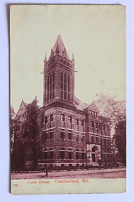 Old postcard COURT HOUSE, CUMBERLAND, MD, 1908