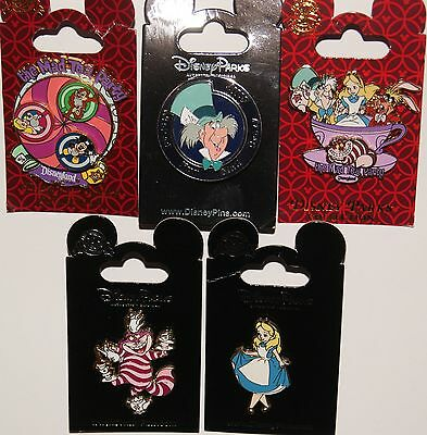 Disney Alice In Wonderland Mad Hatter Cheshire 5 Pin Lot New On Original Cards