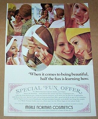 1970 ad page - Merle Norman Cosmetics PRETTY GIRL face Vintage Print Advertising