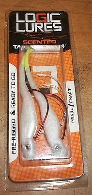 Logic Lures Pearl/Chartreuse 4 in.Pre-Rigged 30lb Line Scented Tandem Rig 2 Pack