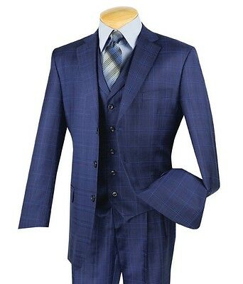 Men's Blue Glen Plaid 3 Piece 3 Button Classic-Fit Suit NEW w/ Matching Vest