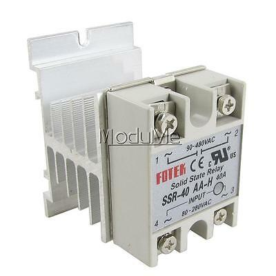 New SSR-40AA-H 40A Solid State Relay Module 80-280V AC / 90-480V AC +Heat Sink M