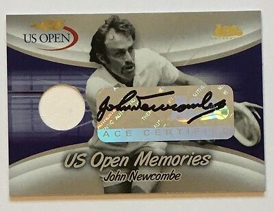 2007 Ace Authentic US Open Memories John Newcombe Auto Jersey Swatch 5/5 USOM-9