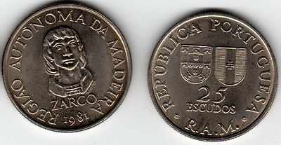 Madeira 25 Escudos Portugal 1981 uncirculated