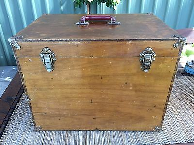 Antique Vintage small travel trunk, chest,  travel case