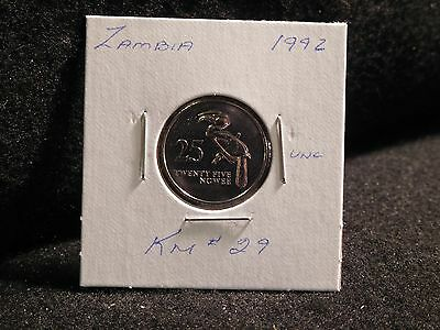 Zambia:   1992     25 Ngwee    Coin     (Unc.)    (#3813)  Km # 29