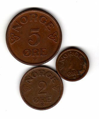 Norway 3 coins 1 2 5 ore 1955 1957