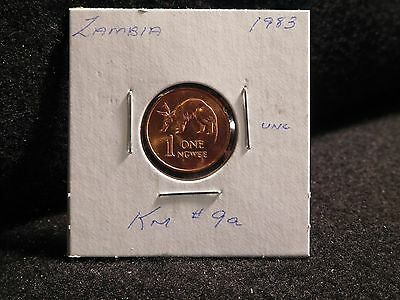 ZAMBIA:   1983      1 NGWEE    COIN     (UNC.)    (#3810)  KM # 9a