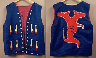 Vintage 2 HEADED SEAWOLF Shell Button PADDLING VEST Native Nothwest Coast X-Lrg
