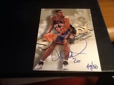 1998 Fleer Skybox Autographics Auto Autograph Card Blue Ink Allan Houston 49/50