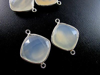 White Chalcedony Cushions Gemstone 925 Sterling Silver Bezel Connectors 2 Pcs