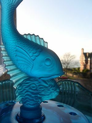 Art Deco Josef Inwald  Blue Glass Bowl with Frosted Fish Flower Frog - 3 parts