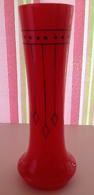 Czech art deco Tango red glass vase with black geometric painted decoration
