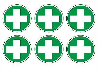 Pack Of 6 First Aid Logo Stickers, 50 x 50mm & 100 x 100mm Medical Safety Signs