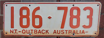 License Plate Number Plate NT Ochre on White Steel Low number  186 783