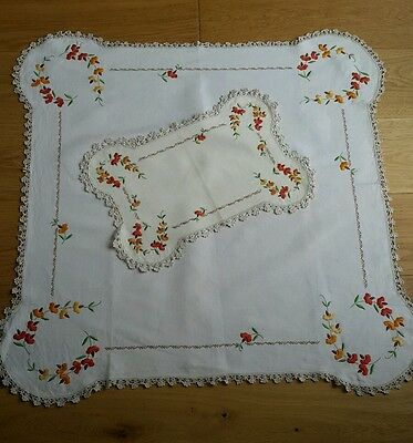 STUNNING vintage heavily embroidered TABLECLOTH + TRAYCLOTH Autumn DECO floral