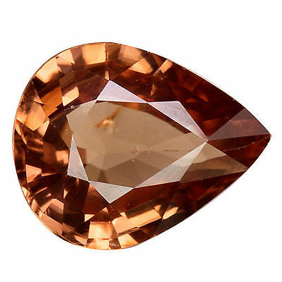 1.800Cts Excellent Luster Brown Natural Zircon Pear Loose Gemstones