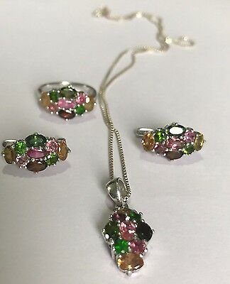 Stunning Natural Tourmaline Earrings Necklace And Ring Set Sterling Silver