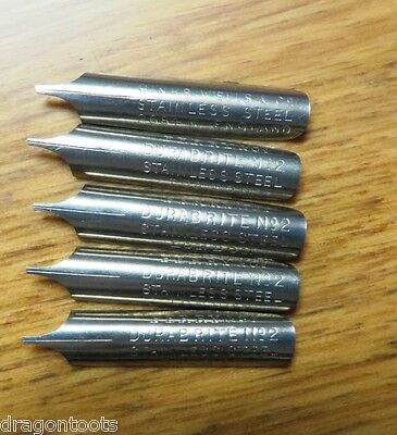 5 x VINTAGE PERRY DURABITE STAINLESS STEEL DIP PEN NIBS-LONDON-CALLIGRAPHY+DRAW+