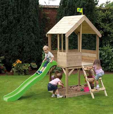 Childrens Playhouse Wooden Kids Play House Sandpit Multiplay Outdoor Slide Toys