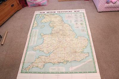 "Rare 1920s Motor Map Of England & Wales In Two Parts Printed On Cloth 46"" By 62"""