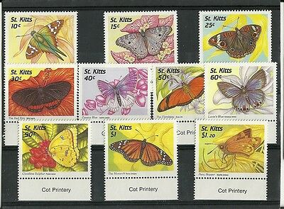 ST KITTS - BUTTERFLY definitives - 1997 Marginal set of 10 to $1.20