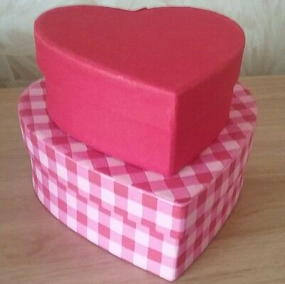 Valentine Love Heart Red Dusky Pink Gift Present Box x 2