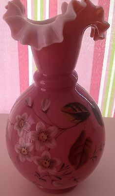 Victorian cased pink glass vase with hand painted floral decoration - AS FOUND