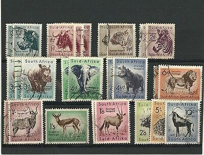 SOUTH AFRICA VFU - 1954 ANIMALS Definitive complete + extra's on card, to 10/-
