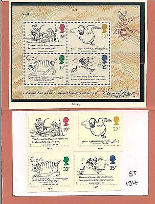 ST-134  4.Stamps + Mini-Sheet. Death Centenary of  Edward Lear.