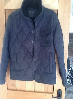 All Saints Men's Ladies Padded Equestrian Wax Jacket XL Navy 40 Inch Chest