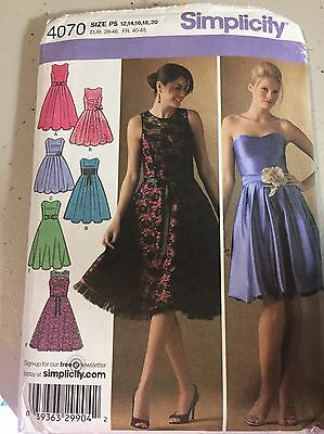 Simplicity 4070 Formal Dress Sewing Pattern 12, 14, 16, 18, 20