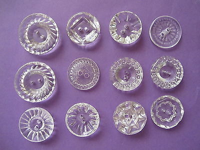 """10 """" CLEAR """"  ** GLASS ** COLOURED  Buttons..Vintage..1.8cm up to 1.9cm + 2 free"""