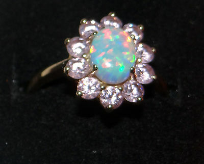 Size O 14ct gold Simulated Opal and Pink Cubic Zirconium dress ring