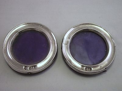 Pair Of Small Round Solid Silver Photo Frames - Chester 1901