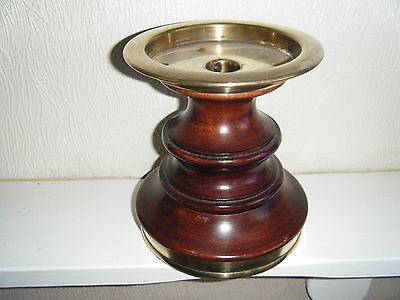 Heavy Wood And Brass Candle Stick Holder