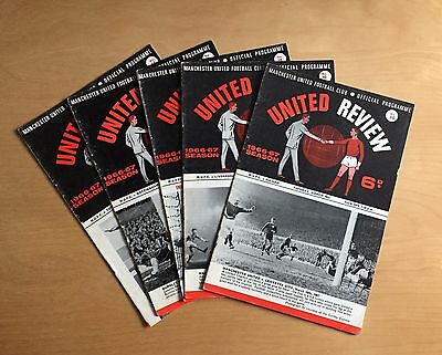 MANCHESTER UNITED - 1966/1967 Job Lot 5 home football programmes :  all listed