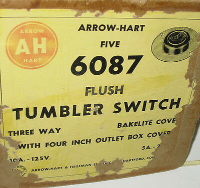 "Vintage Arrow-Hart Round Flush 4"" Cover Tumbler Light Switch Porcelain Bakelite"