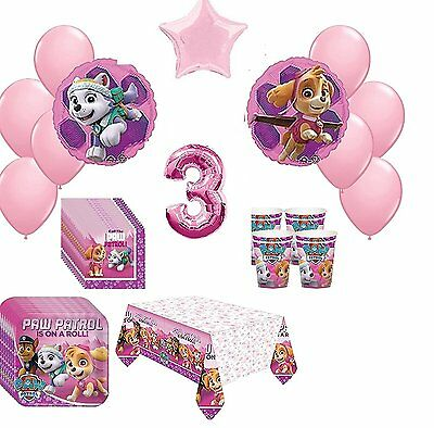 3rd  Pink Paw Patrol Skye & Everest 16 Piece Birthday ultimate Party Pack