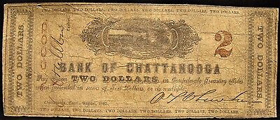 Rare 1862 Dated Confederate Bank Of Chattanooga $2.00 Note. Good Condition