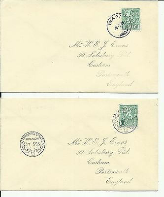 Finland to Portsmouth, two covers. unsure of dates